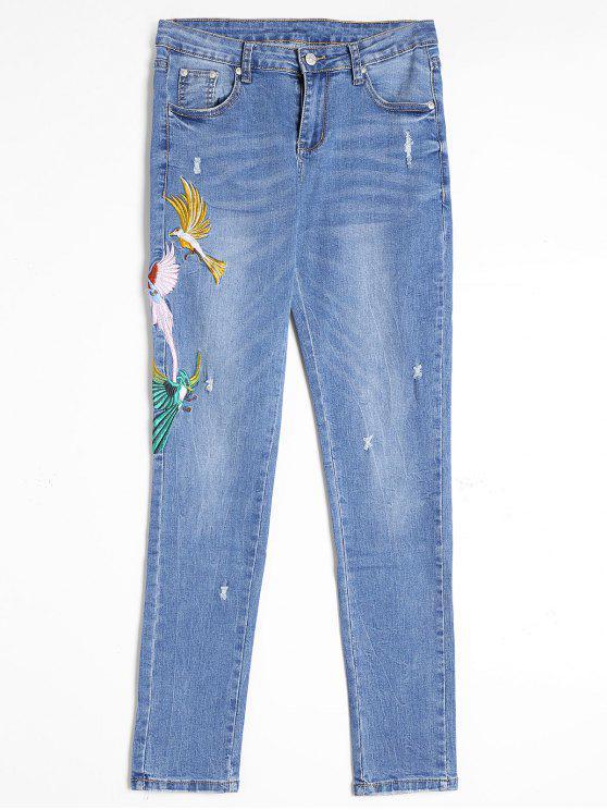 Jeans Déchiré à Oiseaux Brodés - Bleu XL