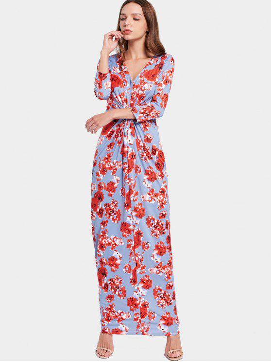 فستان ماكسي مطوي طباعة الازهار الرقبة V - الأزهار XL