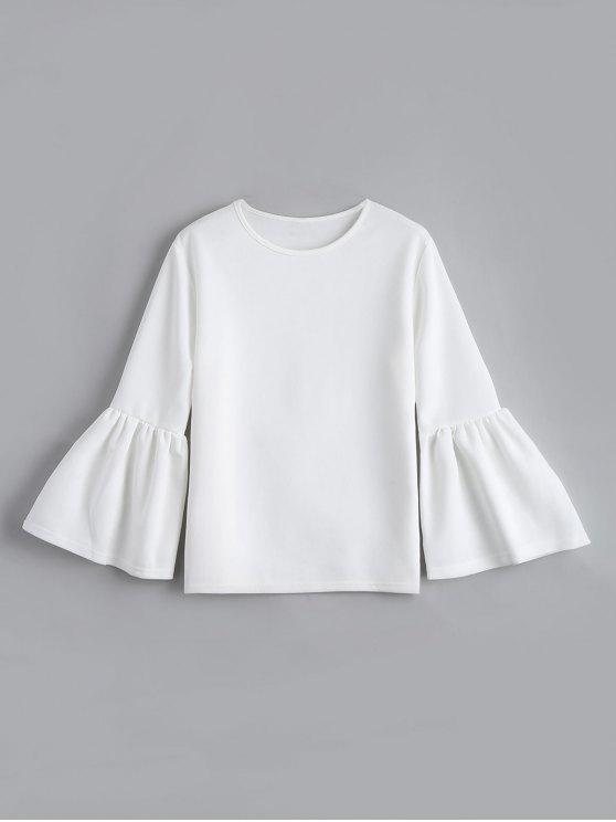 women Flare Sleeve Boxy Top - WHITE M