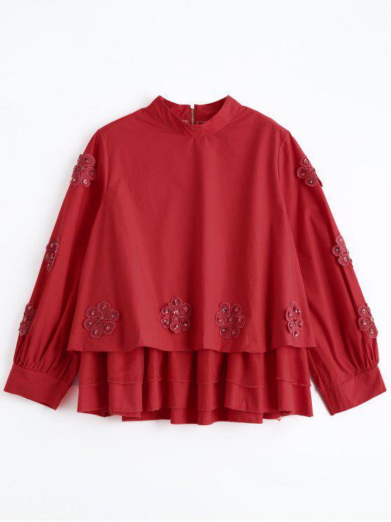 Blouse Multicouches Applique Floral Perlé - Rouge Taille Unique