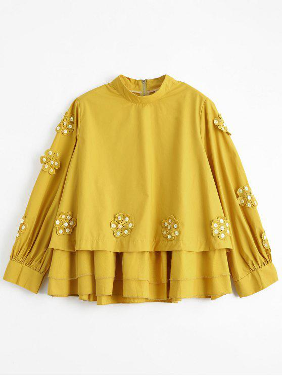 2019 Beading Layered Floral Applique Blouse In Yellow One Size Zaful