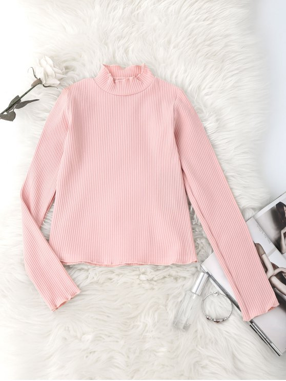women Knitted Ruffled Mock Neck Ribbed Top - PINK M