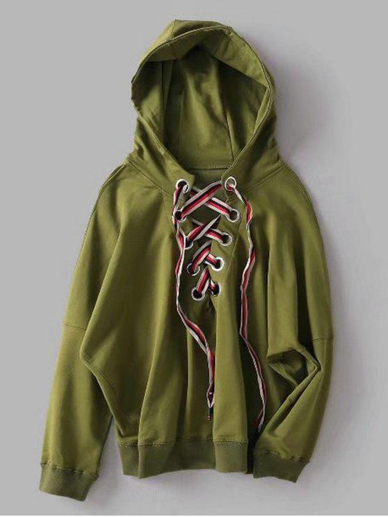 best Oversized Lace Up Hoodie - ARMY GREEN S