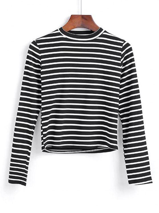 trendy Long Sleeve Stripes Layering Top - BLACK ONE SIZE