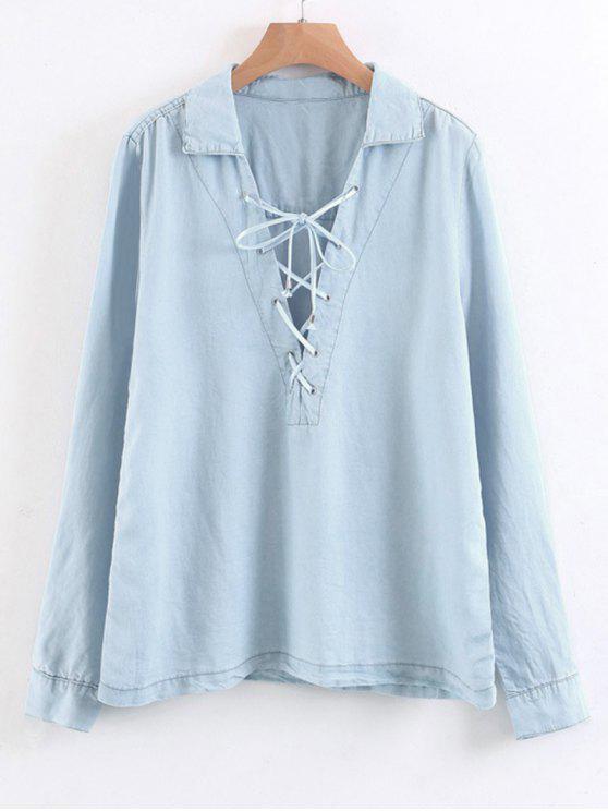 Chemise à lacets à manches longues - Bleu Léger  S