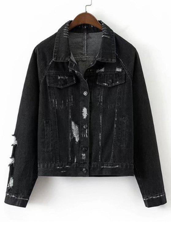 outfit Loose Destroyed Button Up Denim Jacket - BLACK S