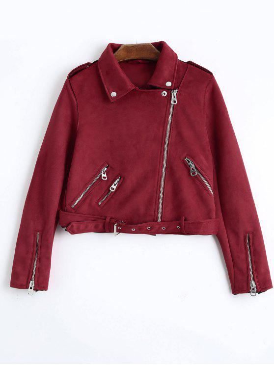 ladies Asymmetric Zipper Belted Faux Suede Jacket - RED S