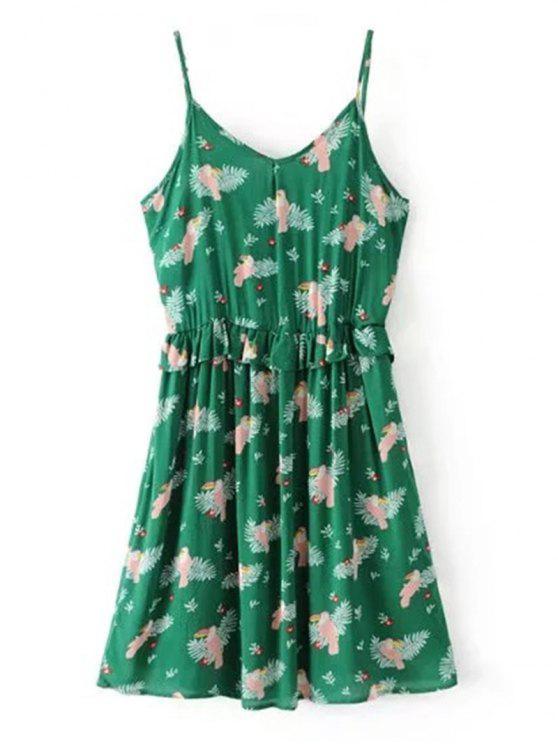 Bird Print Ruffles Mini Slip Dress - Vert L