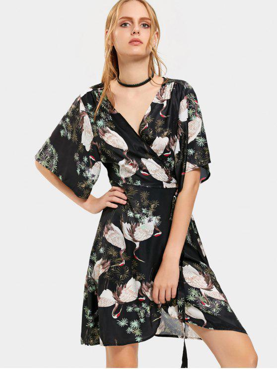 225c60eca11a 25% OFF] 2019 Kimono Sleeve Wrap Crane Beach Dress In FLORAL | ZAFUL
