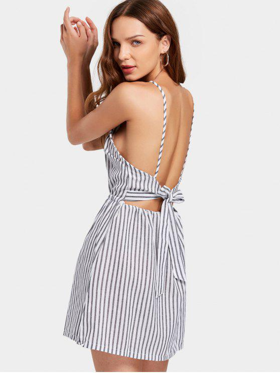 trendy Open Back Striped Cami Dress - BLACK M