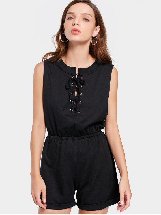 Lace Up sans manches Romper - Noir L