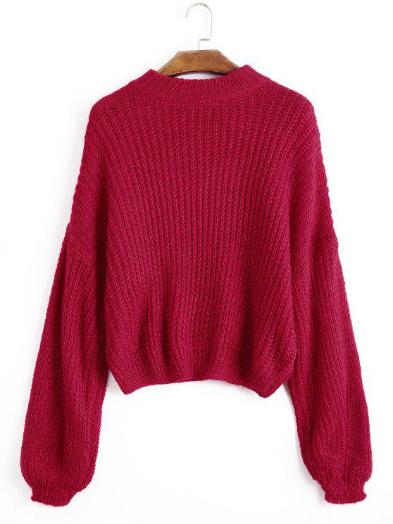 affordable Lantern Sleeve Mock Neck Chunky Sweater - RED ONE SIZE