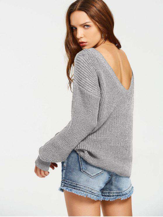 Pull Épais Oversize Dos en V - Gris Taille Unique