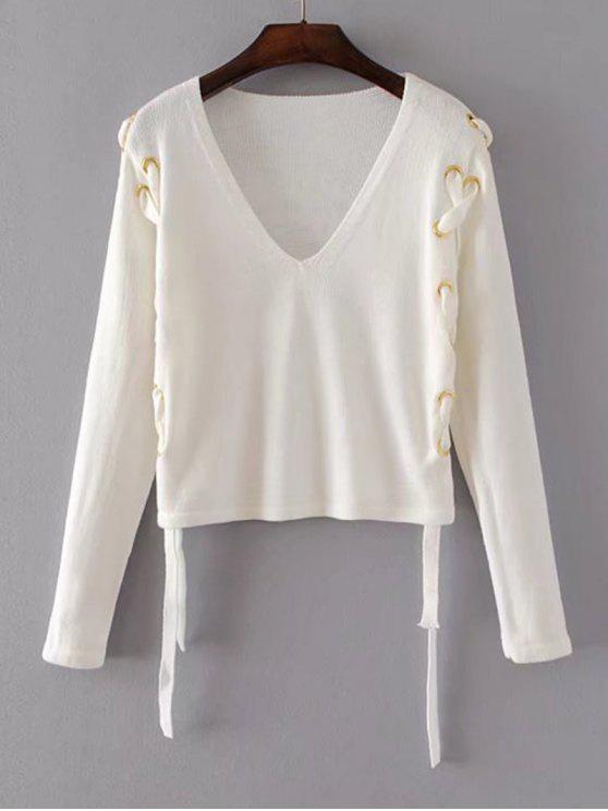 Suéter con cuello en V suelto y encaje - Blanco S