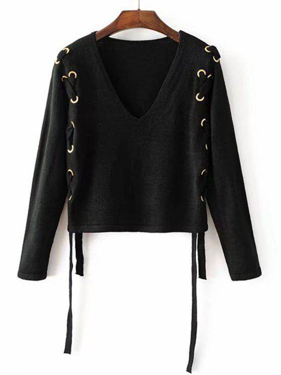 hot Loose V Neck Lace Up Sweater - BLACK M