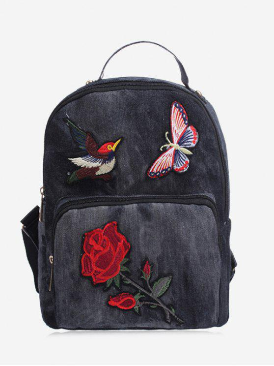 shop Zipper Embroidery Denim Backpack - BLACK