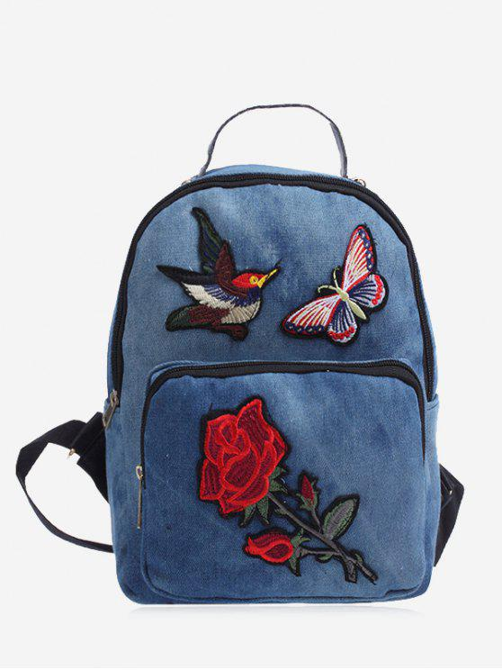 Zipper Embroidery Denim Backpack - Azul