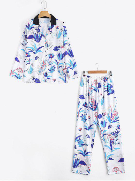 chic Satin Grass Print Shirt with Pants Loungewear Suit - WHITE M