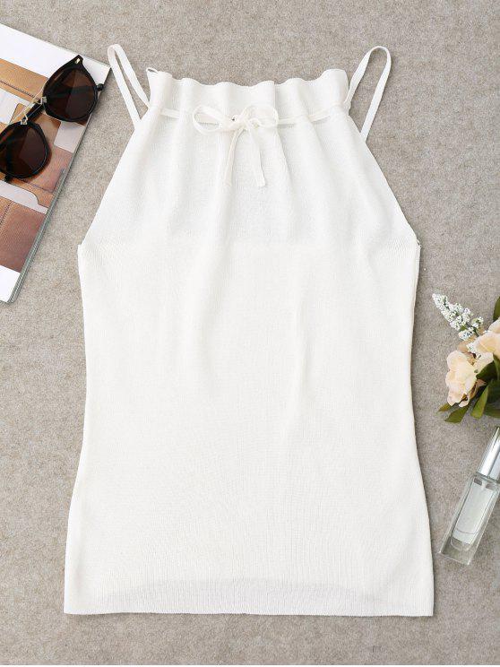 Haut Camisole Tricoté et Ajusté en Cordon - Blanc Taille Unique