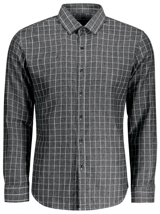 online Casual Long Sleeve Plaid Shirt - GRAY 3XL