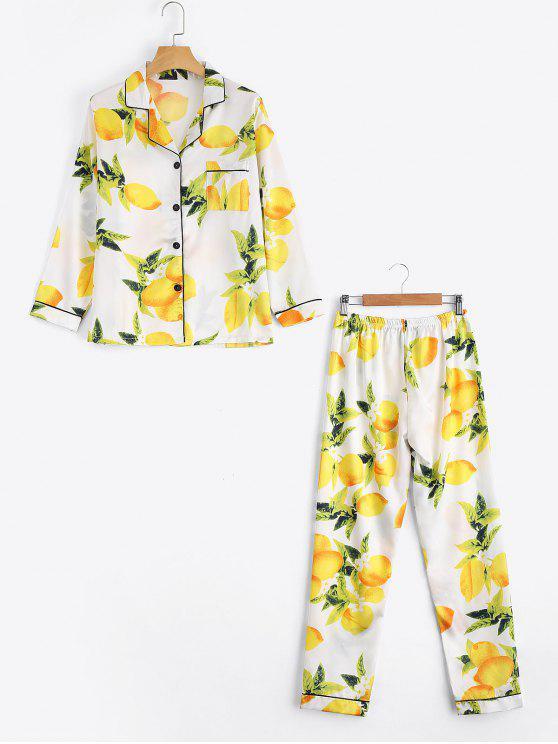 women Satin Lemon Print Shirt with Pants Loungewear Suit - WHITE M