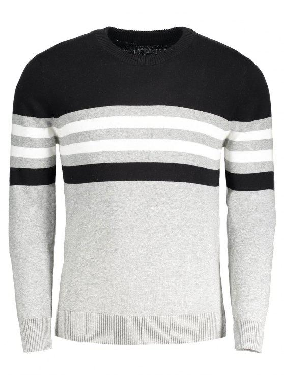 new Crew Neck Striped Sweater - GRAY 3XL