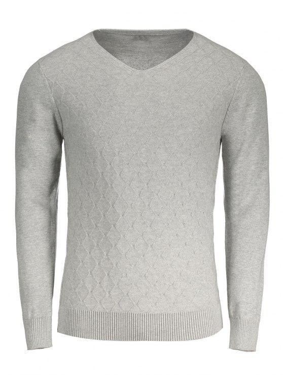Rhombus V-Ausschnitt Pullover - Grau 2XL