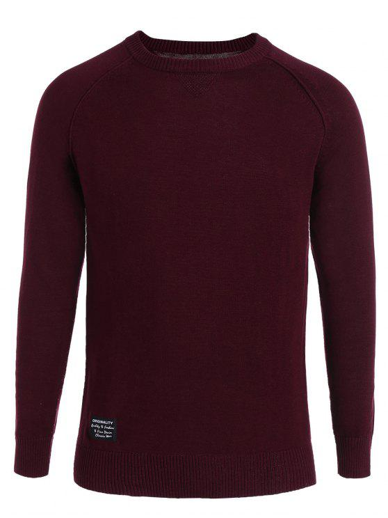 fashion Cotton Applique Crew Neck Sweater - WINE RED 3XL
