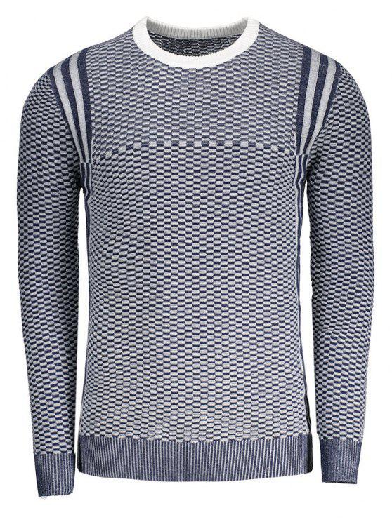 sale Heathered Crew Neck Sweater - BLUE 2XL