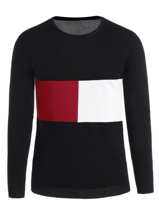 women Mens Patchwork Sweater - BLACK 3XL