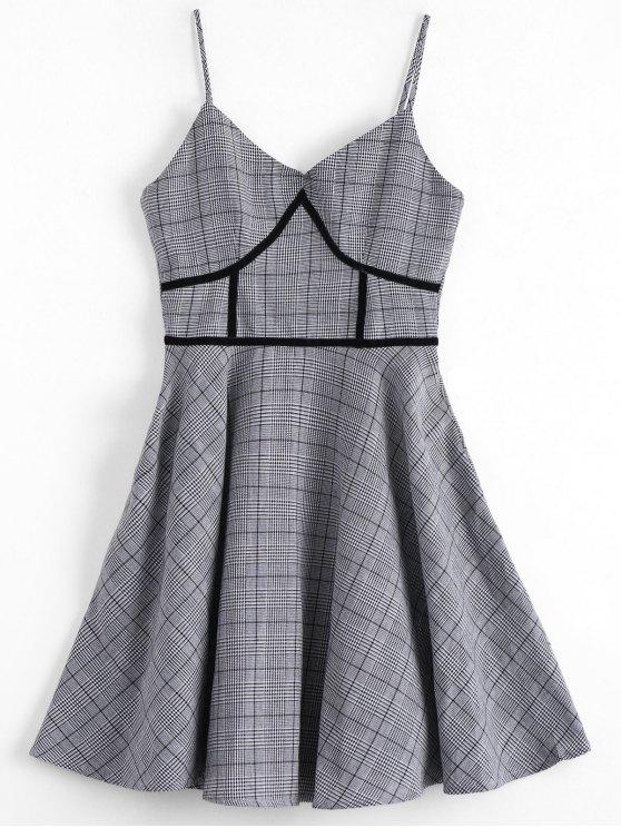 women's Houndstooth Slip Dress - PLAID S