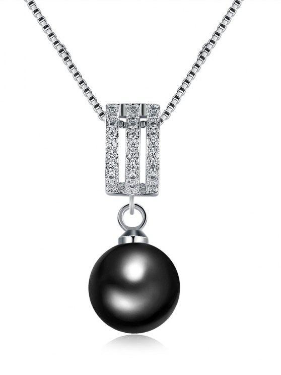Rhinestone-Faux-Perlen-hängende Charme-Halskette - silber