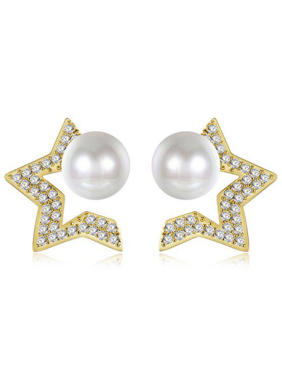Faux Pearl Star Tiny Stud Earrings - Or