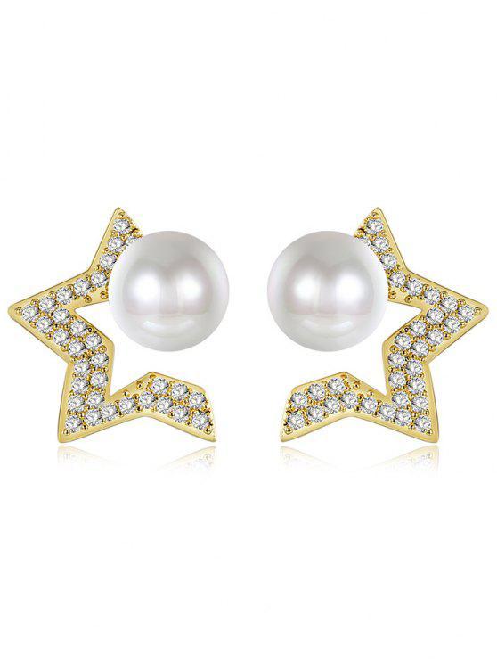 lady Faux Pearl Star Tiny Stud Earrings - GOLDEN
