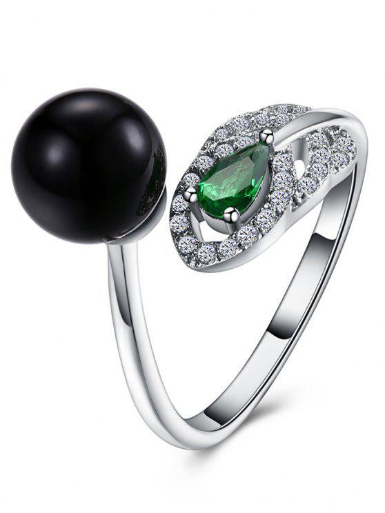 Rhinestone Faux Emerald Ball Cuff Ring - Prata