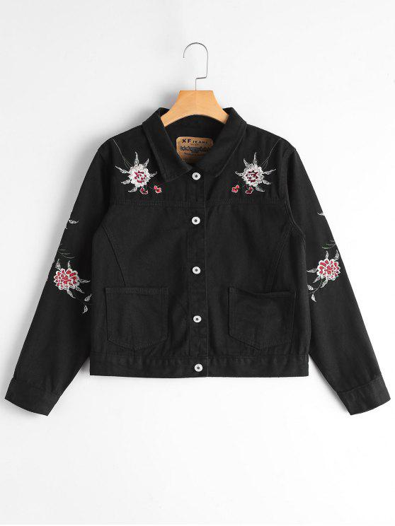 women Button Up Floral Embroidery Denim Jacket - BLACK S