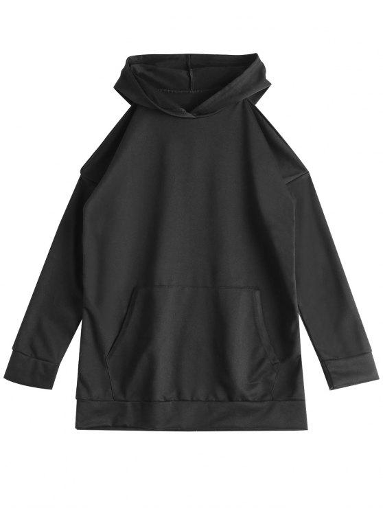 Hoodie dianteiro do ombro frio do bolso - Preto XL