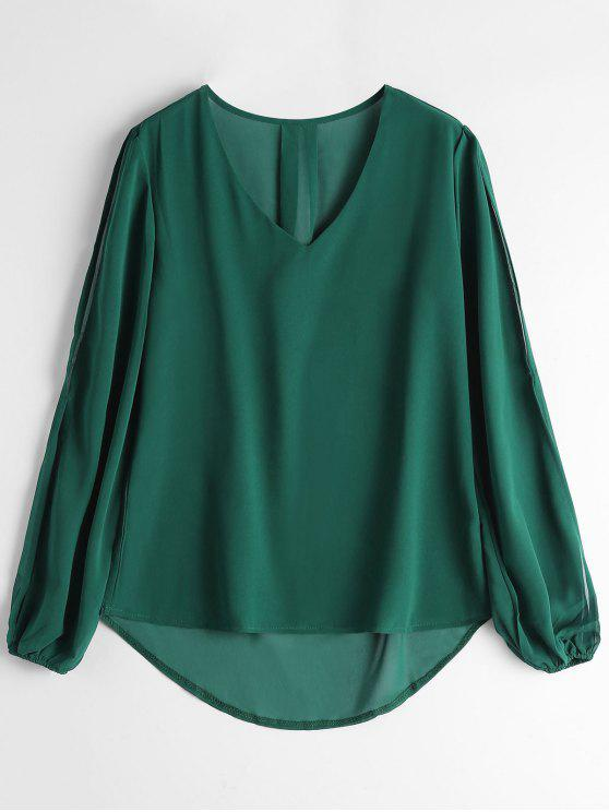 online V Neck Split Sleeve High Low Blouse - GREEN S
