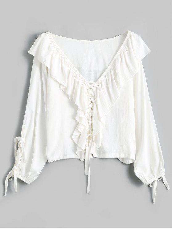 461a7f40eaa V Neck Ruffles Lace Up Blouse