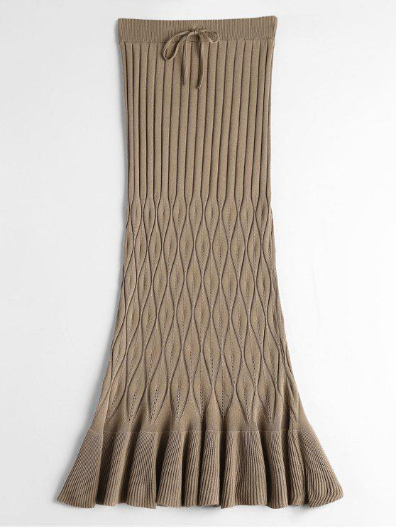 buy High Waist Ruffle Hem Knitted Skirt - KHAKI ONE SIZE