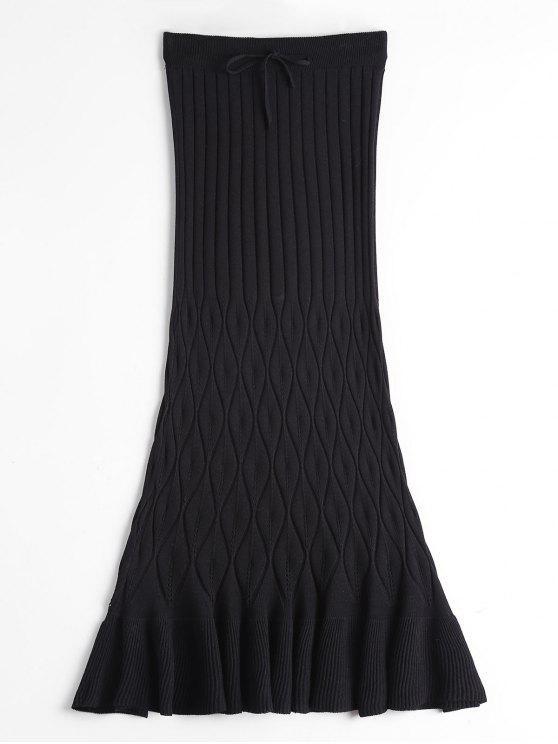women High Waist Ruffle Hem Knitted Skirt - BLACK ONE SIZE