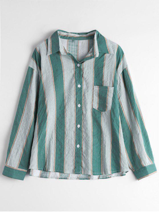 new Drop Shoulder Pocket Striped Shirt - STRIPE ONE SIZE