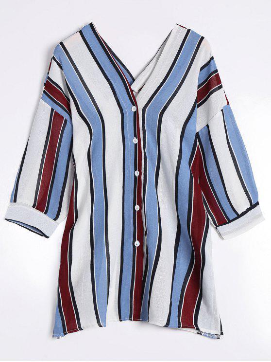 outfits V Neck Drop Shoulder Striped Blouse - BLUE ONE SIZE