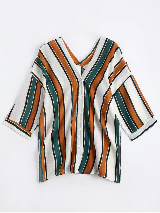 latest V Neck Drop Shoulder Striped Blouse - YELLOW ONE SIZE