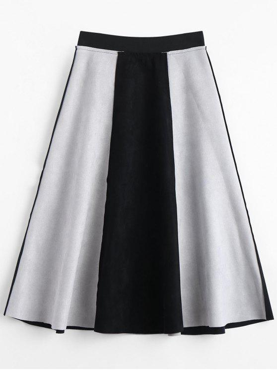 fancy Suede Color Block Swing Skirt - BLACK L