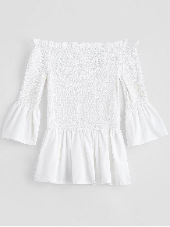 trendy Bell Sleeve Off The Shoulder Smocked Blouse - WHITE S
