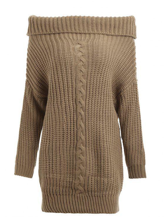latest Turtleneck Cable Knit Chunky Sweater - KHAKI ONE SIZE