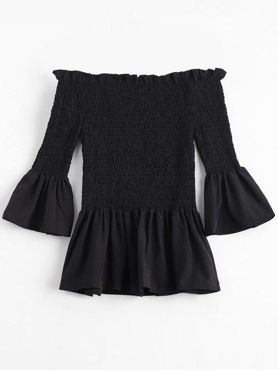 fashion Bell Sleeve Off The Shoulder Smocked Blouse - BLACK S
