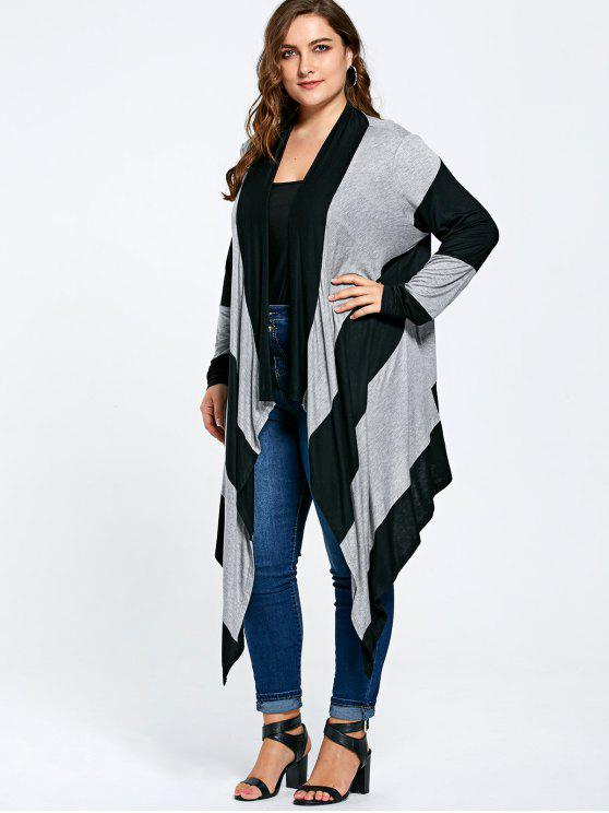 lady Striped Plus Size Long Asymmetric Cardigan - BLACK AND GRAY XL