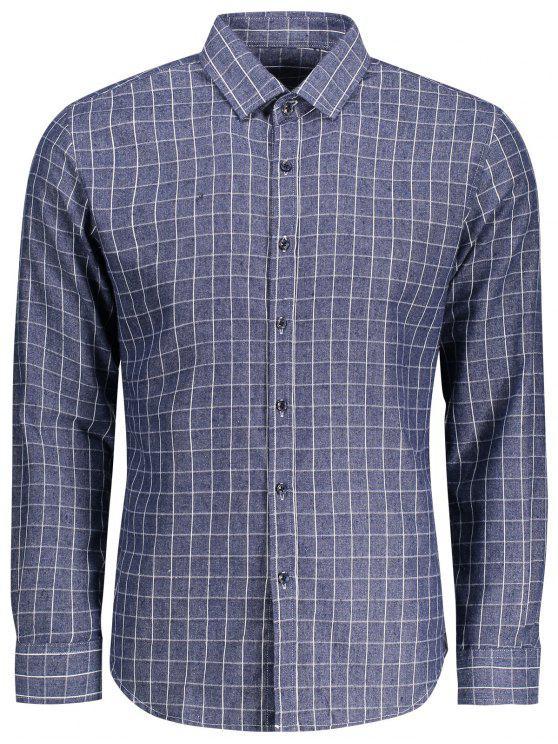 منقوشة قميص طويل الأكمام - أزرق 3XL